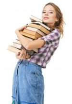 8953507-lovely-girl-with-a-stack-of-books-against-white-background